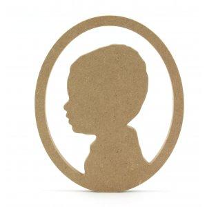 silhouette ovaal frame met een eigen portret van MDF hout
