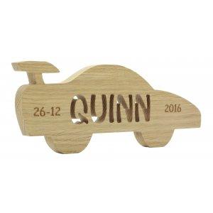 houten eiken raceauto met persoonlijke tekst