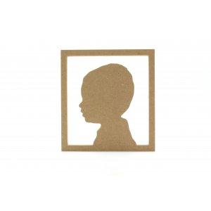 silhouette vierkant frame met een eigen portret van MDF hout